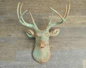 Patina Deer Head Wall Mount – Faux Taxidermy Deer - Farm House – Rustic Weathered Wall Décor- Fake Deer Head D7474
