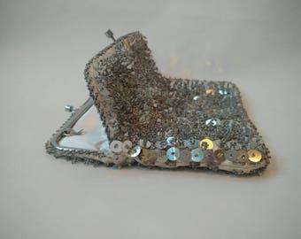 Vintage Silver Sequin Beaded Purse Kiss Lock Evening Bag Retro Clutch
