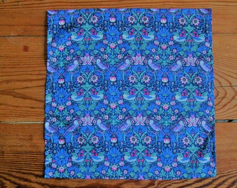 Handmade Liberty Fabric Pocket Square Handkerchief in Strawberry Thief Fabric in Pink and Blue