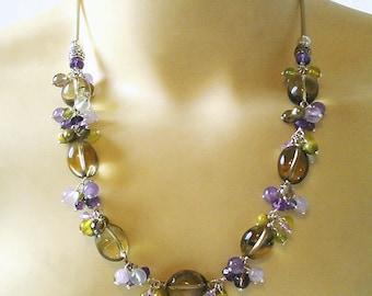 Collier Grappe multicolore, Pierres de Quartz fumé, Prehnite, Améthyste, Péridot / Plaqué argent - Smokey quartz necklace, Silver plated