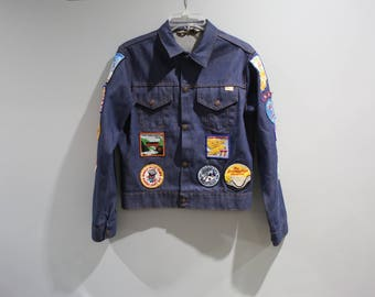 Vintage Denim Jacket With Patches Boy Scouts 70s 80s Boys Size XL