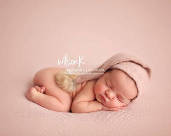 Newborn Knotted Night Cap, Photography Prop Sleepy Hat, Newborn Sleep Hat, Dove Grey Night Cap, Pompom Hat, Photo Prop Night Cap