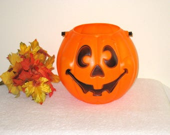 Vintage Halloween Blow Mold Candy Bucket, Smiling Pumpkin Treat Pail, Jack-O-Lantern Candy Container, Trick Or Treat