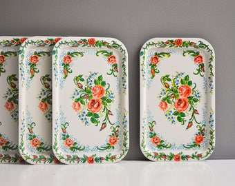 Pair of Vintage Floral Serving Trays - Pink and Green Flowers