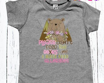 "Children's Allergy Alert Tee Shirt ""Please don't feed me"" unisex tee shirt boys and girls Allergy Alert tee"