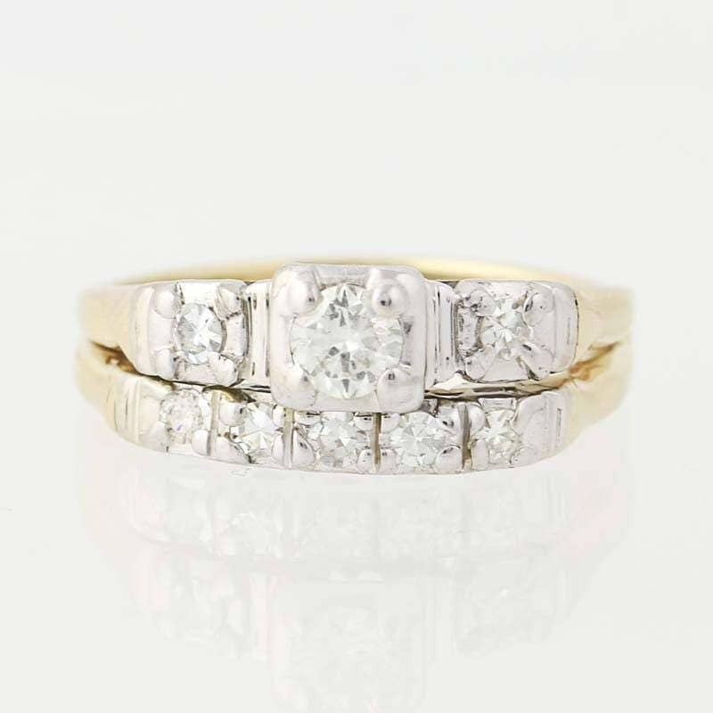 Vintage Wedding Ring Set 14k Yellow White Gold Diamond Band