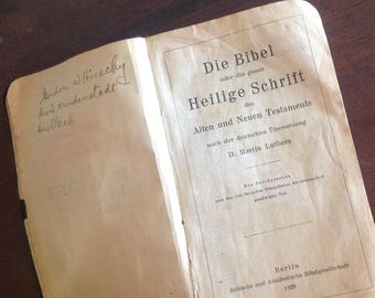 1920 German Bible, Old and New Testament, leather cover 4.75 x 2.75 inches