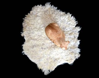 Cruelty Free, Shetland Sheep, Cat Bed, Pet Bed, Dog Mat, Leather Free, Felted Wool Fleece, Ethical Sheepskin, Natural, Kitten Bed, ThrowRug