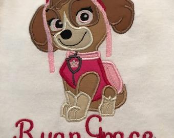 Skye Paw Patrol Embroidered Shirt (Name Included), Girl's Shirt