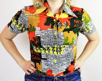 1970s Never Again Map Printed Blouse
