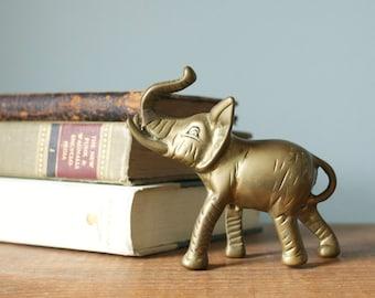 Vintage Solid Brass Lucky Elephant Figurine