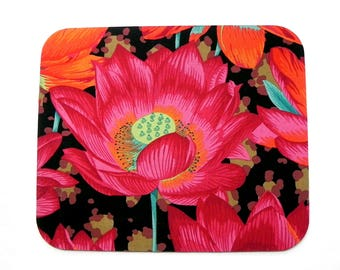 Mouse Pad - Fabric mousepad - Flowers in pink, red, orange, green and aqua - Kaffe Fassett Fabric