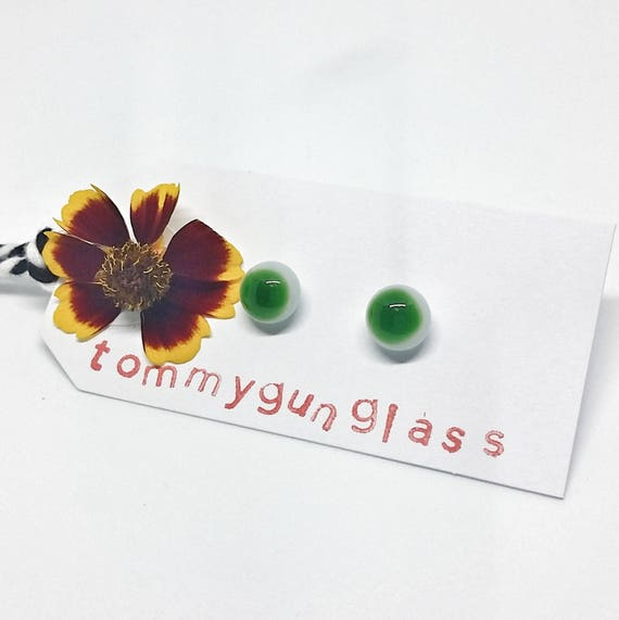 Emerald and White Glass Stud Earrings