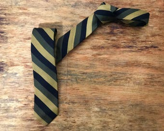 Vintage 1950s 1960s Mod Skinny  Neck Tie -  Gold, Olive Green, Black Horizontal stripes