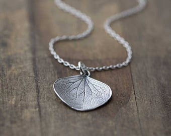 Large Silver Petal Pendant Necklace | Sterling Silver Necklaces for Women | Gift for Women | Leaf Necklace | Jewelry Jewellery by Burnish