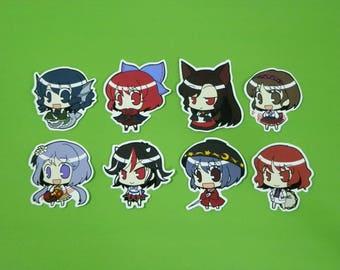 Touhou Project Art Sticker 8Pcs. Wakasagihime, Sekibanki, Kagerou , Seija, Raiko