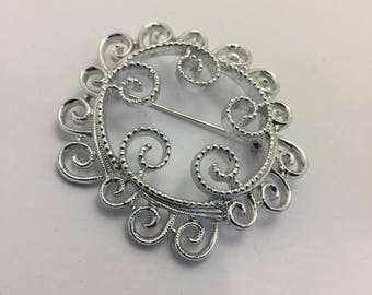 Sarah Coventry Silvery Mist Brooch Vintage Lot 842