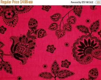 ON SALE 60% OFF Sale Hot Pink Flower Cotton Linen Fabric by the Yard