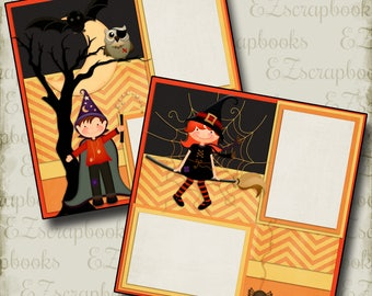 KIDS of HALLOWEEN - 2 Premade Scrapbook Pages - EZ Layout 352