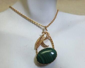 Vintage Malachite Pendant Necklace