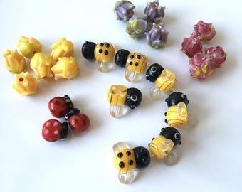 Flower Lampwork Beads, Ladybug Lamp Work Beads, Bumble Bee Glass Beads, 24 piece mixed lot
