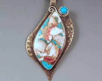 Kingman Turquoise, Purple Spiney Oyster, and Sleeping Beauty Turquoise - Smoky Bronze Patina- Metal Art Necklace by RedPaw