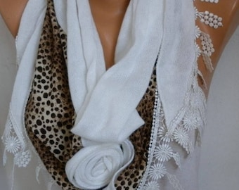 White Knitted Floral Scarf,Wedding Shawl Cowl Lace Bridesmaid Gift Bridal Accessories Gift For Her Women Fashion Accessories Mother Day Gift