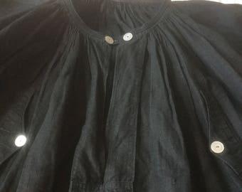 Rare antique indigo linen biaude / paysanne smock