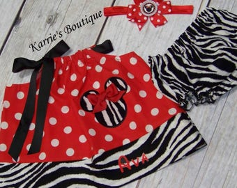 Personalized Minnie Mouse Outfit / Red & Black / Disney Vacation / Birthday / Newborn / Infant / Baby/ Girl / Toddler / Boutique Clothing