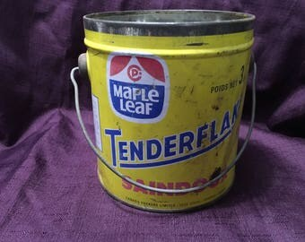 1950s Maple Leaf Tenderflake Pure Lard Metal Tin 3 Lb Bucket Kitchen Collectibles Canada Packers At Everything Vintage USA Shipping's On Us!