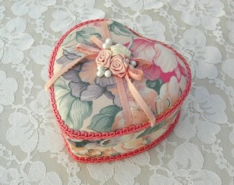 Beautiful Small Floral Heart Box, fabric-covered, for gift, jewelry, keepsakes, Valentine box, optional engagement ring box