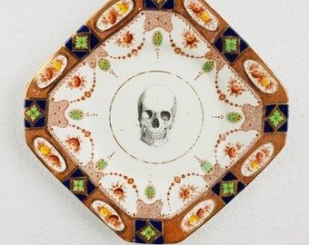 Square Skull Cake Tea Plate Blue Green Brown Flowers Pattern White Vintage China Made in England Wedding Anniversary Gift Wall Art Collage
