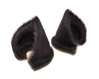 Reserved for Jessica Hernandez Wide Style Natural Black Fur Leather Cat Ears Nekomimi Cosplay Furry Goth Fantasy LARP Fairy Kitten Play