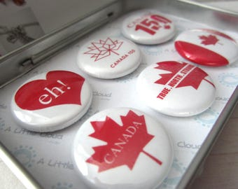 Canada magnet set, Canada 150, Maple leaf magnets, true north strong, eh!, Canadian flag magnet