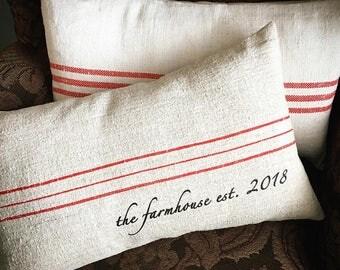 Farmhouse Grain Sack Lumbar Pillow