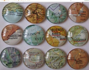 "12 Glass Fridge Magnets  (set of 12) 1"" world maps, corporate gift, bridal shower favor, wedding favors"