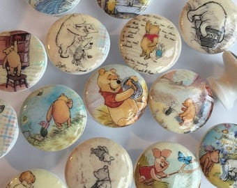 SUMMER SALE dresser drawer knobs pulls wood knobs decorated with Winnie Pooh and friends images 1 1/2 inch set of 6 decoupaged
