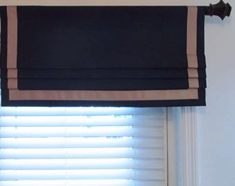 Ribbon Trimmed Lined Faux Roman Shade Navy Blue Oatmeal Bordered Mock Valance Custom Sizing Available!