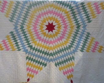 "Vintage Texas Lone Star Quilt, Hand Quilted  // Starburst Quilt, Diamond Pieced Quilt, Diamond Star Quilt, Very Good Condition...82"" X 82"""