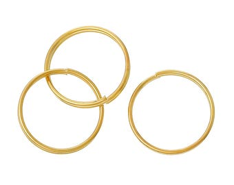 50 Gold Plated Double Loops Split Rings, Gold Jump Rings 15mm, jum0200a