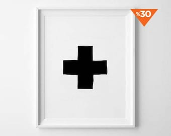 Plus Sign Poster, Nursery Decor, wall art, kids room, poster, black and white, scandinavian poster, nursery prints, geometric print
