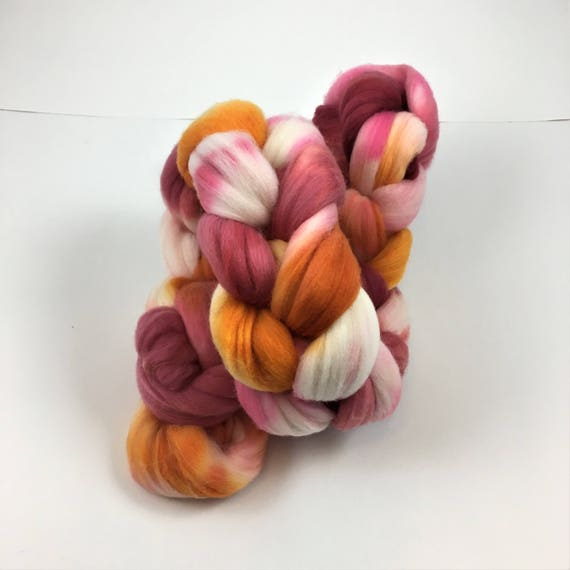 Merino Wool Roving, READY TO SHIP, 21.5 micron, 4 oz, Combed top, Spinning fiber, felt, Wool top, wool roving, combed wool, spring flowers
