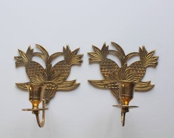 Vintage Brass Pineapple Candlestick Holder Wall Sconces 1970s