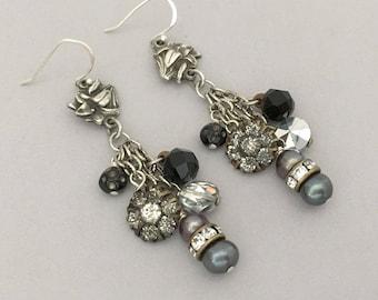 Vintage Assemblage Rhinestone Earrings - Unique Assemblage Dangle Earrings - Antique Button Earrings - One of a Kind OOAK Pierced Earrings
