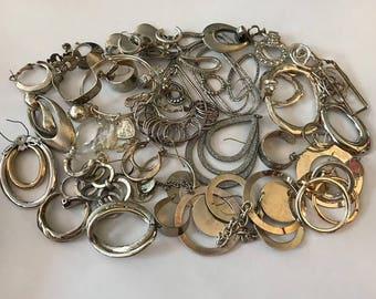 Silver Earring Lot | Silver Jewelry Lot | Junk Jewelry Lot | Hoop Earrings | Vintage Jewelry Lot | Jewelry Parts