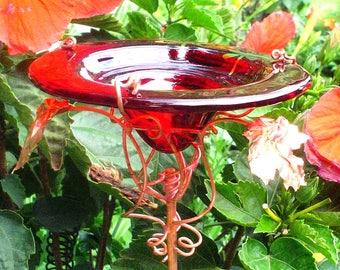 Stained glass Dragonflies BUTTERFLY Suncatcher, FEEDER, copper, Red, Garden art