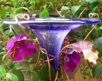 Smoky Violet HUMMINGBIRD FEEDER, stained glass, copper, fused glass, Garden Art, bird feeder