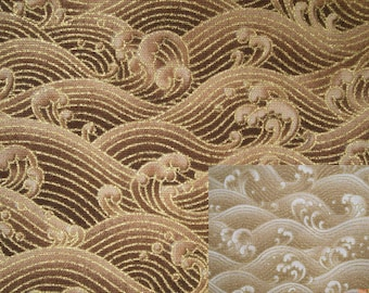 Troubled water, gold metallic, fat quarter, pure cotton fabric