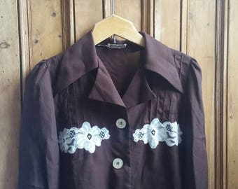 Ladies vintage 70s shirt brown lace size 12 shirts medium 1970s womens clothing collar blouse  festival top floral tops Dolly Topsy Etsy UK