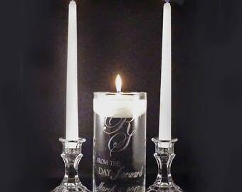 Custom Monogram Wedding Unity Candle Vase Set - Bride & Groom Initials Etched Glass Candle Vase - Wedding Unity Cermony Set
